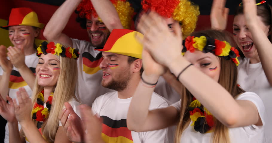 German Supporters People Happy Winning Goal Applause a Football Team Game Match