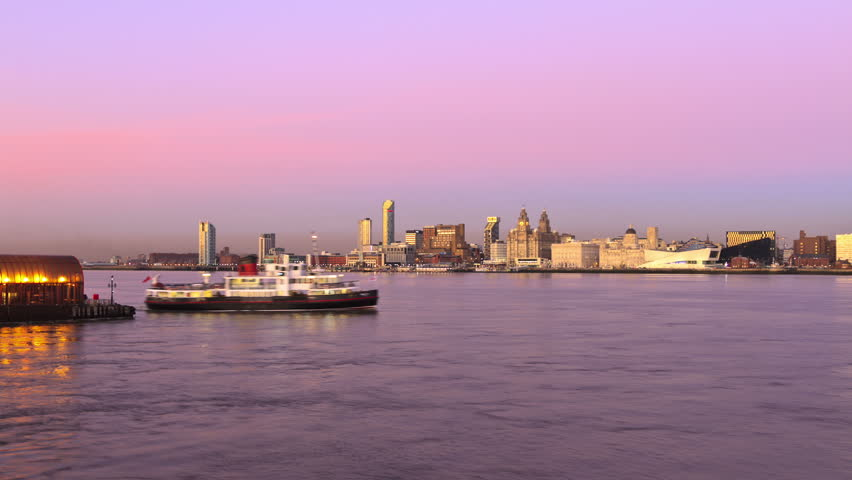 Time lapse of the Mersey Ferry crossing from Wirral to Liverpool at dusk