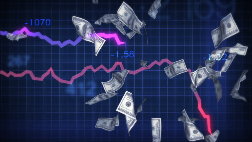 Recession and Inflation. Paper dollars falling. Finance chart shows fall. Conceptual business 3d animation | Shutterstock HD Video #2573480