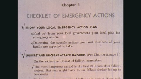 UNITED STATES: 1970s: checklist of emergency actions. Man colours in areas on map.
