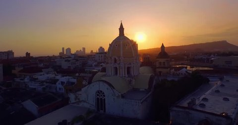 Cartagena Colombia Sunrise Aerial City