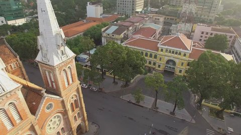 Aerial view of Saigon Central Post Office and Notre Dame church Ho Chi Minh City Vietnam