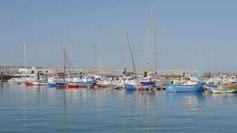 Fishing boats in a Spanish Harbour at Puerto de Morro Jable, Fuerteventura, Canary Islands