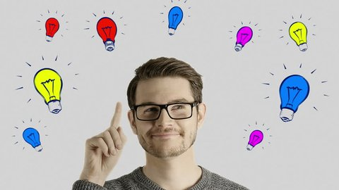 Clever creative man think gets an idea, which jumps up as symbolic colored cartoon animation shape lamps over his head on white background