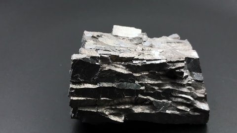 Rotating galena (silver mineral) on black background