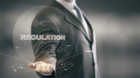 Regulation with hologram businessman concept