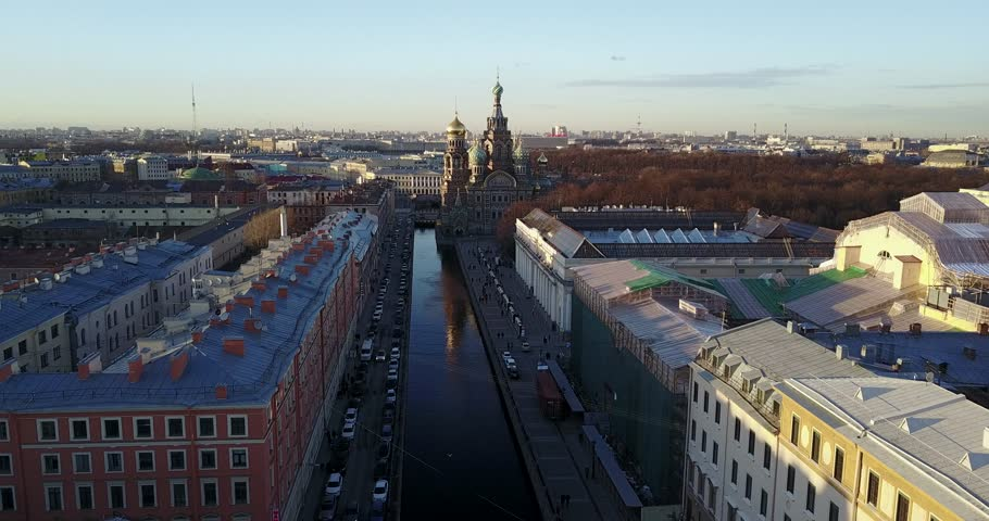 Aerial view of Griboedov Canal, Church of the Savior on Blood and historical city center at spring sunset. Cityscape of Saint Petersburg, Russia