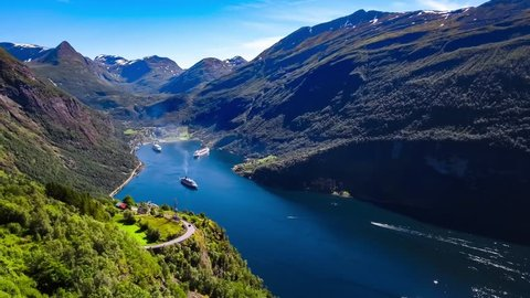 Geiranger fjord, Beautiful Nature Norway Aerial footage. It is a 15-kilometre (9.3 mi) long branch off of the Sunnylvsfjorden, which is a branch off of the Storfjorden (Great Fjord).