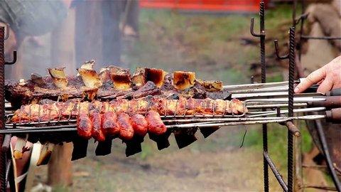 Asado (barbecue) in the Feria de Mataderos, Buenos Aires, Argentina