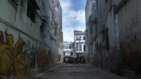 HAVANA - MARCH 14:  Timelapse timelapse of a rundown side street, where school children come to exercise. 14 March 2012, Havana, Cuba.