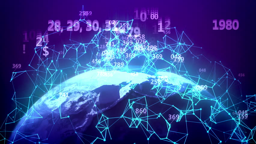 World global network over the Earth with abstract number figures on a blue background. Seamless loop. | Shutterstock HD Video #25951076