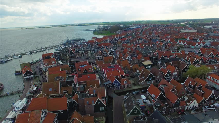 Volendam town in North Holland in the Netherlands Aerial Flyover Of Homes