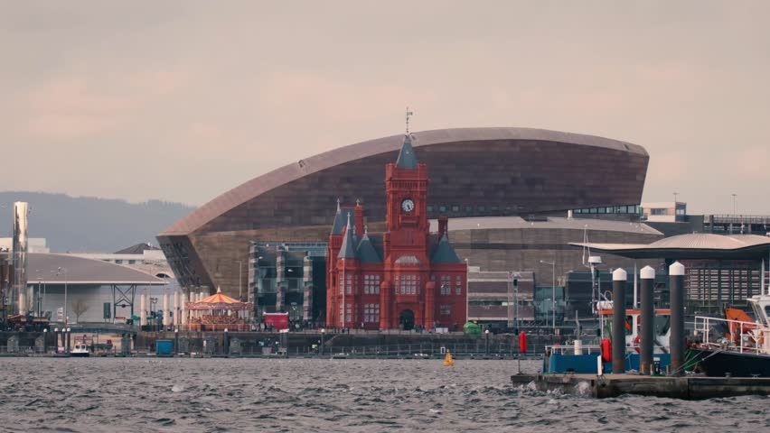 Cardiff Bay Seafront with National Assembly for Wales. Pierhead Building with the Assembly complex in Cardiff Bay, Wales, UK