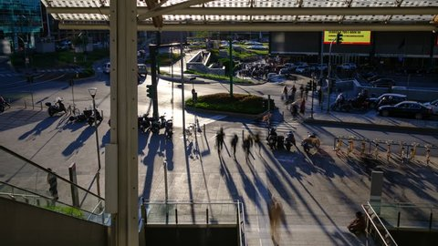 Garibaldi Rail Station/Milan, Italy - 18th April 2017: Pedestrian area and Rail Station close to Porta Nuova business district