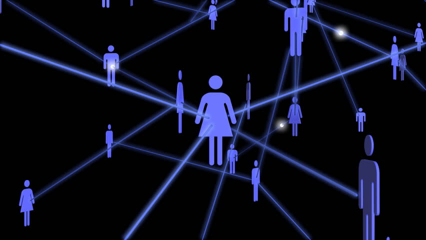 A 3D network of people passing messages to each other.   Shutterstock HD Video #2602322