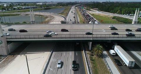Aerial Footage of a Bridge near the Mall of Millenia, Orlando, FL
