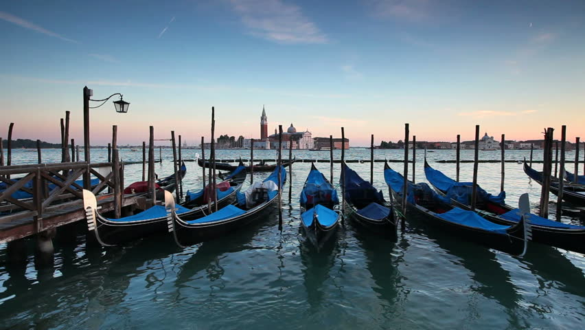Quay at St Mark's Square with Gondolas and the view to San Giorgio Maggiore Island