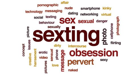 Sexting animated word cloud, text design animation.