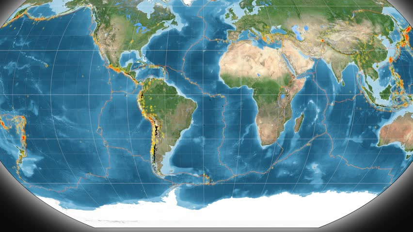 South America tectonic plate featured & animated against the global satellite map in the Kavrayskiy VII projection. Tectonic plates borders (Peter Bird's division), earthquakes, volcanoes