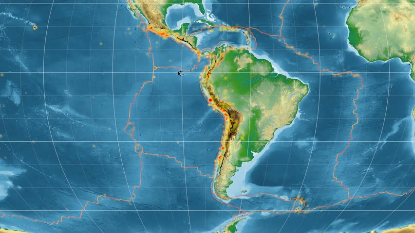 South American Tectonic Plate Is Centered On Map Of Azimuthal
