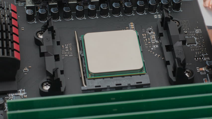 Motherboard computer with details cooling memory and processor   Shutterstock HD Video #26140277