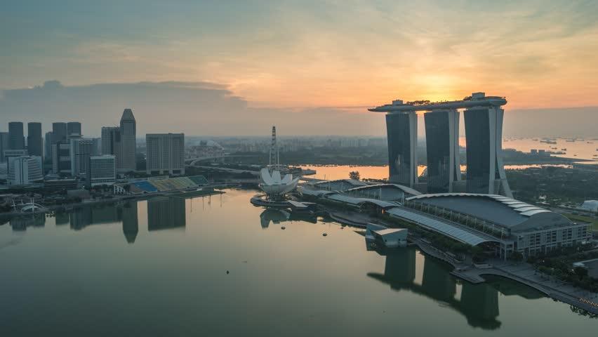 Singapore city skyline sunrise timelapse, Singapore, 4K Time lapse