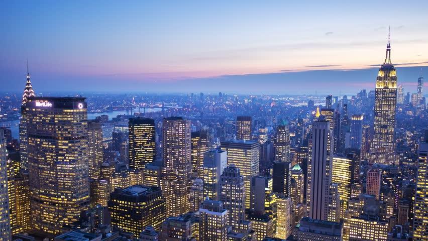 NEW YORK CITY - NOVEMBER 2016: Blue hours timelapse of midtown Manhattan after sunset in New York, USA. | Shutterstock HD Video #26170967