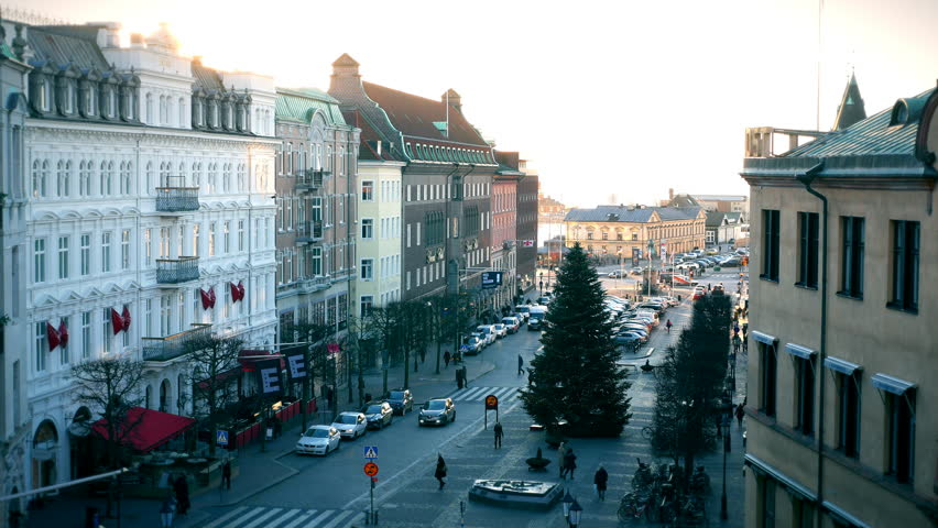 Buildings and city street at sunset. Helsingborg, Sweden