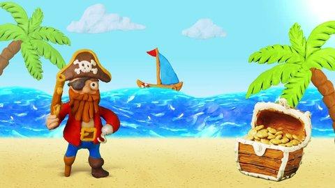 Funny Cartoon Pirate speak and Treasure chest. Summer Beach. Clay animation. 4K