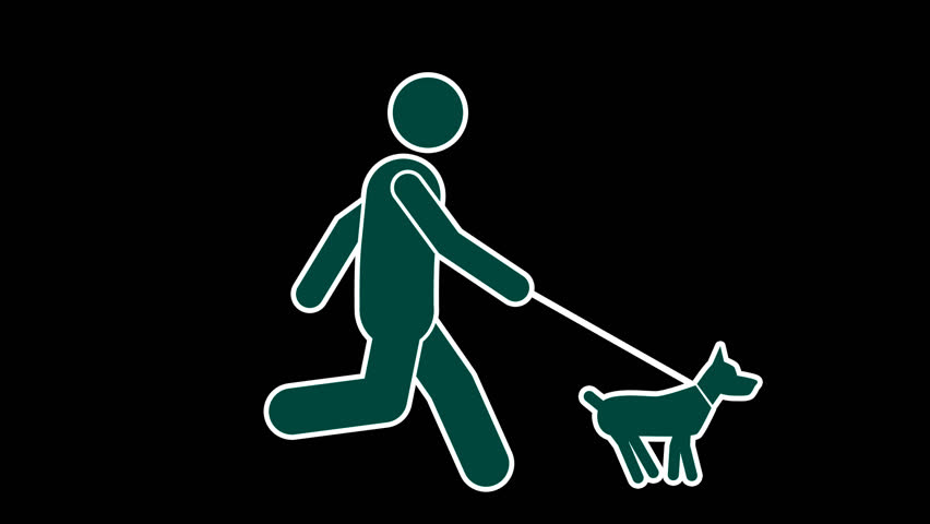 Stick Figure Run With Dog with Alpha channel