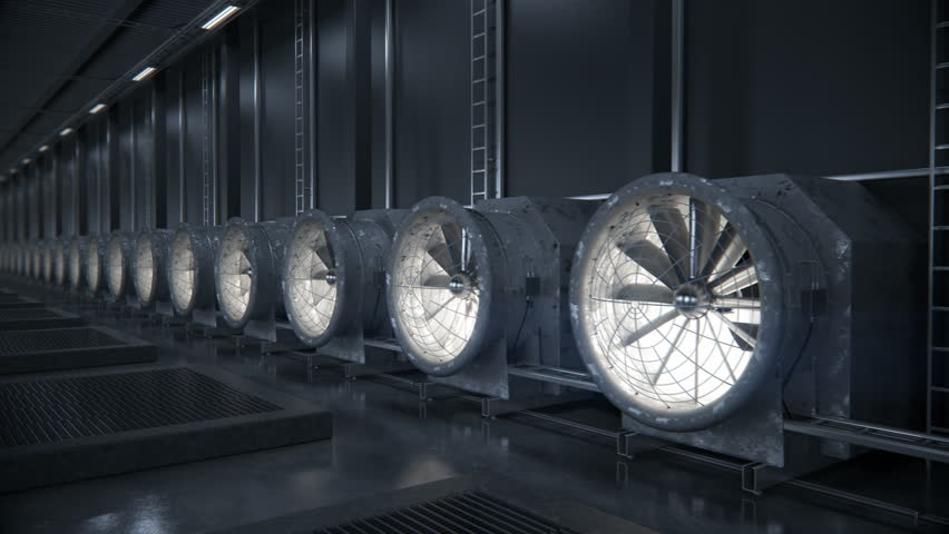 Cooling system for data or cryptocurrency mining center   Industrial loopable background. High-quality 4K 3D rendering