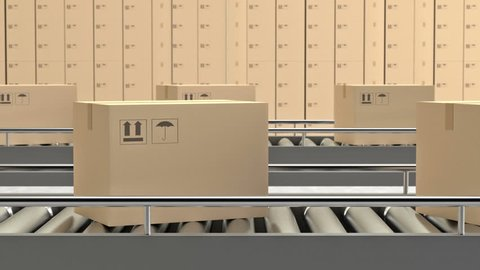 Shipping box on Conveyor (Loopable)