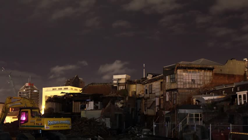 Time lapse of clouds moving over collapsed buildings from the Christchurch earthquake | Shutterstock HD Video #2627507