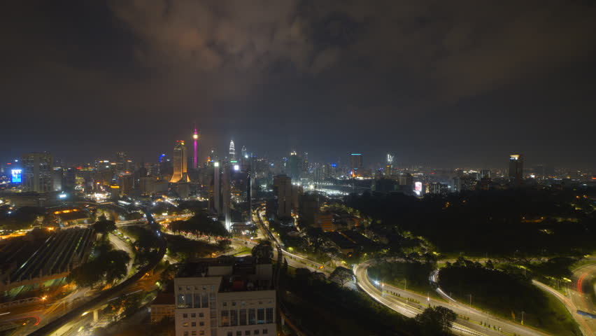 Time lapse: Kuala Lumpur city view during night overlooking the city skyline. SOOC Camera | Shutterstock HD Video #26298587