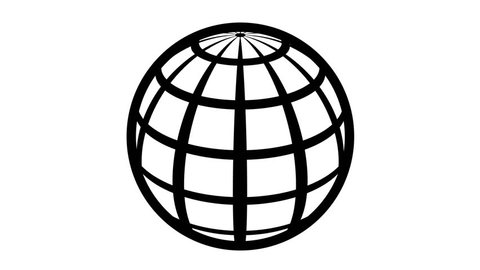 Globe Icon 360. Earth rotating 360 degrees. Parallels and Meridians. View of the Northern Hemisphere. Seamless Loop. Black and white.