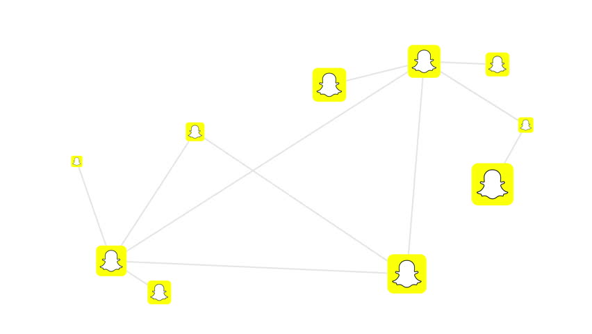 HALLE, GERMANY - APRIL 28, 2017: Artists concept of inter-connectivity of the Snapchat messaging and multimedia app where users share pictures or video or messages that are available for limited time.