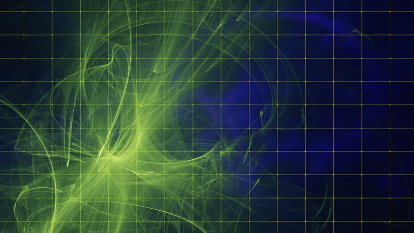 Futuristic Dynamic Background, Flame Fractal Animation for Special and Visual effects  and future technology design. Yellow-green foreground on the dark blue background with fine yellow grid.