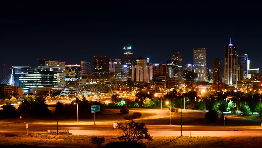 1080p looping timelapse of Denver, Colorado at night with skyline and traffic in motion
