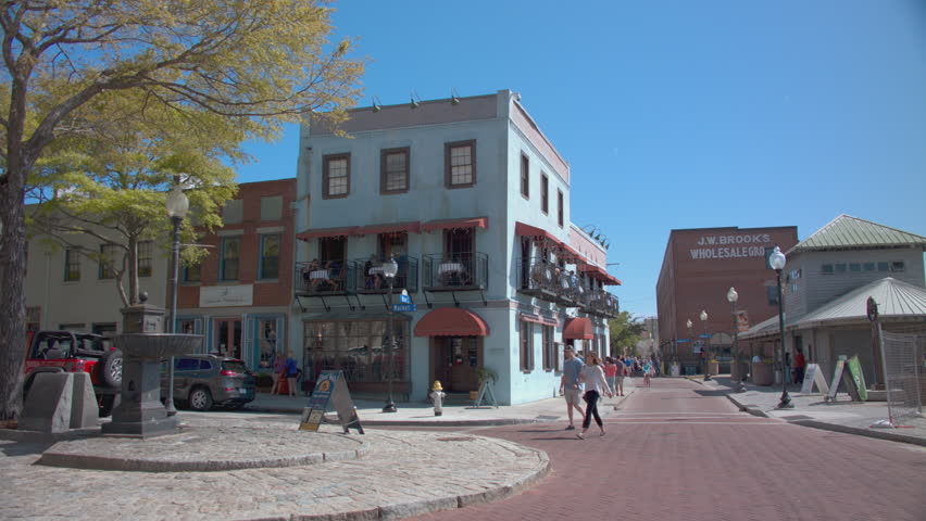 Wilmington Nc 2017 Historical Riverwalk In Downtown With People Exploring Eclectic Restaurants And