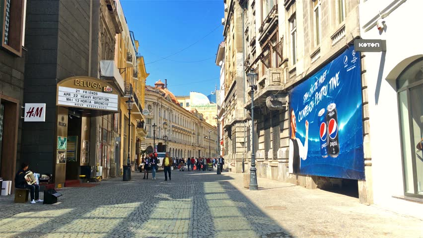 BUCHAREST, ROMANIA - APRIL 17, 2017: Point of View Walk (First Person) Observing Everyday Life In Busy Downtown Bucharest City (Lipscani Old Town) Of Romania.