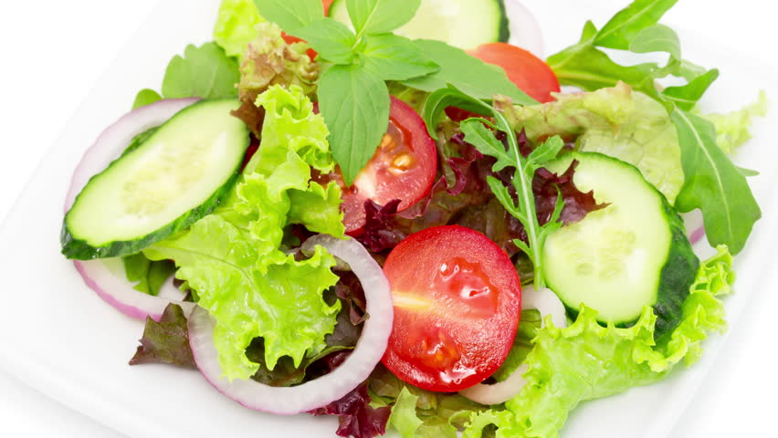 Fresh Vegetable Salad On White Stock Footage Video 100 Royalty Free 26358527 Shutterstock