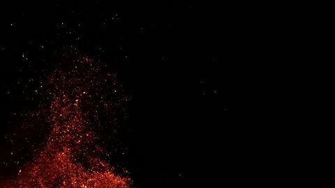 Sparks from the fire on the dark background - slow motion