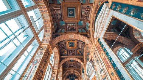 SAINT PETERSBURG, RUSSIA - FEB, 2017: Raphael Loggias - The State Hermitage Museum. Saint Petersburg, Russia. Vaults of the gallery of Raphael Loggias decorated with biblical paintings