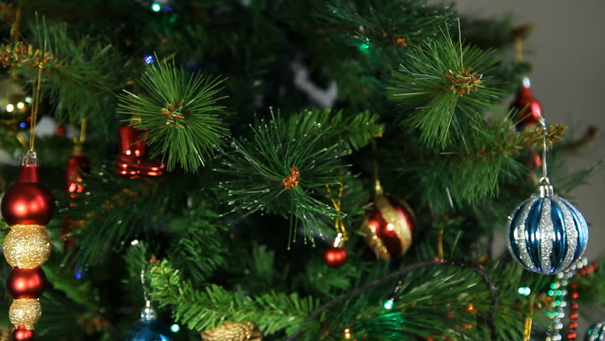 Hanging Christmas Tree Ornaments   HD Stock Video Clip