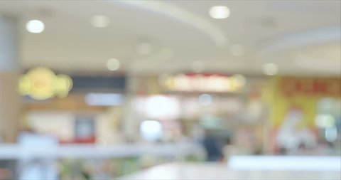 Restaurant zone and coffee shop blurred background timelapse footage. Defocused shot inside shopping mall with counters, tables and people.