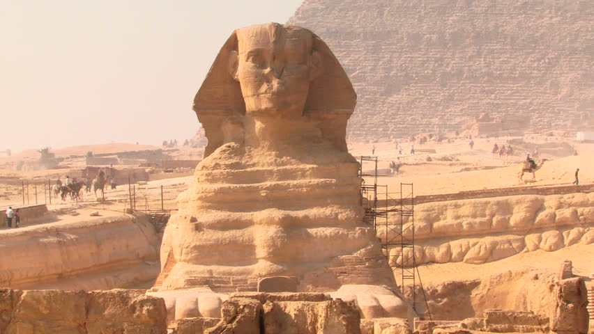 Sphinx in front of the Pyramids in Giza, Egypt