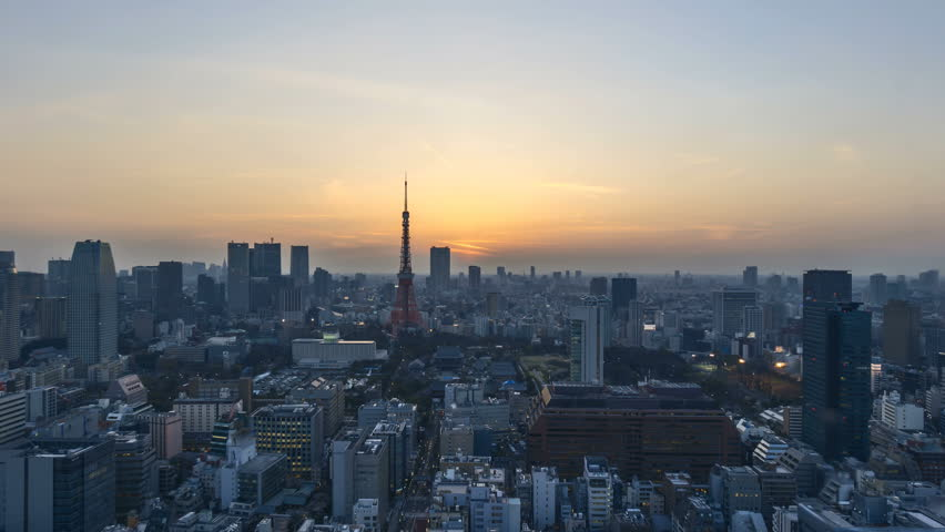 4k time lapse of night to day sunrise scene at Tokyo city skyline with Tokyo Tower. Zoom out   Shutterstock HD Video #26419397