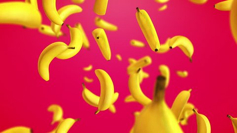 CGI 3D animation of tasty yellow bananas floating in slow motion against red background