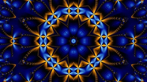 Blue and gold kaleidoscope sequence patterns.Abstract multicolored motion graphics background. Or for yoga, clubs, shows, mandala, fractal animation. Seamless loop.