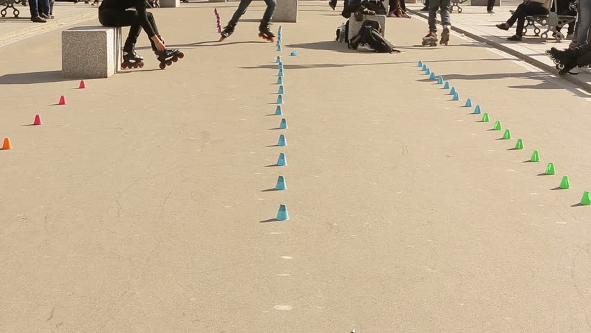 Roller skaters practice in the streets of Paris.Rollerblade is very common in the city. | Shutterstock HD Video #26452217
